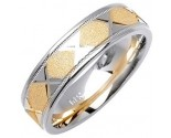 Two Tone Gold Sandblasted Wedding Band 6mm TT-1073