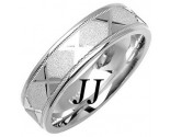 White Gold Sandblasted Wedding Band 6mm WG-1073