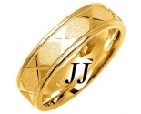 Yellow Gold Sandblasted Wedding Band 6mm YG-1073