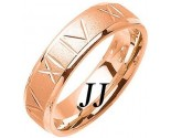 Rose Gold Roman Numerals Wedding Band 6mm RG-1074