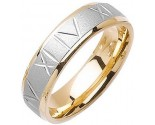 Two Tone Gold Roman Numerals Wedding Band 6mm TT-1074
