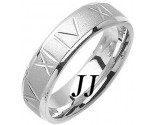 White Gold Roman Numerals Wedding Band 6mm WG-1074