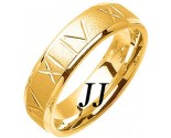 Yellow Gold Roman Numerals Wedding Band 6mm YG-1074