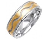 Two Tone Gold Wave Wedding Band 7mm TT-1075