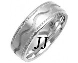 White Gold Wave Wedding Band 7mm WG-1075