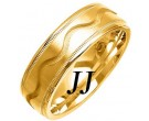 Yellow Gold Wave Wedding Band 7mm YG-1075