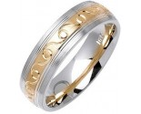 Two Tone Gold Ocean Crest Wedding Band 6mm TT-1076