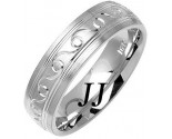 White Gold Ocean Crest Wedding Band 6mm WG-1076