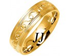 Yellow Gold Ocean Crest Wedding Band 6mm YG-1076