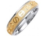 Two Tone Gold Screwdriver Wedding Band 6mm TT-1077