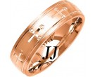 Rose Gold Cross Wedding Band 6mm RG-1078