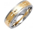 Two Tone Gold Cross Wedding Band 6mm TT-1078
