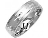White Gold Cross Wedding Band 6mm WG-1078