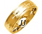 Yellow Gold Cross Wedding Band 6mm YG-1078
