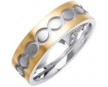 Two Tone Gold Ellipses Wedding Band 7mm TT-1080