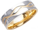 Two Tone Gold Wave Wedding Band 7mm TT-1081