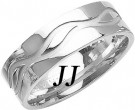 White Gold Wave Wedding Band 7mm WG-1081