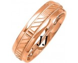 Rose Gold Striped Wedding Band 6mm RG-1082