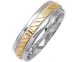 Two Tone Gold Striped Wedding Band 6mm TT-1082