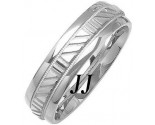 White Gold Striped Wedding Band 6mm WG-1082