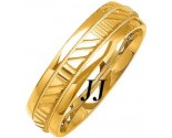 Yellow Gold Striped Wedding Band 6mm YG-1082