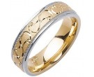 Two Tone Gold Swirled Wedding Band 6mm TT-1083