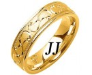 Yellow Gold Swirled Wedding Band 6mm YG-1083