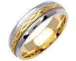 Two Tone Gold Ellipses Wedding Band 6mm TT-1084
