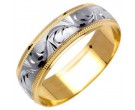 Two Tone Gold Designer Wedding Band 6mm TT-1088