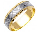Two Tone Gold Designer Wedding Band 6mm TT-1089