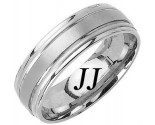 White Gold Dual Blade Wedding Band 7mm WG-1152