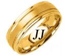 Yellow Gold Dual Blade Wedding Band 7mm YG-1152