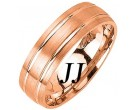 Rose Gold Dual Blade Wedding Band 6.5mm RG-1154