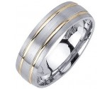 Two Tone Gold Dual Blade Wedding Band 6.5mm TT-1154