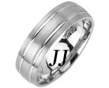 White Gold Dual Blade Wedding Band 6.5mm WG-1154