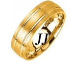 Yellow Gold Dual Blade Wedding Band 6.5mm YG-1154