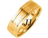 Yellow Gold Dual Blade Wedding Band 7mm YG-1155