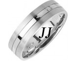 White Gold Single Blade Wedding Band 6mm WG-1158