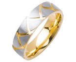Two Tone Gold Shark Teeth Wedding Band 6mm TT-1161A