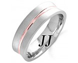 Two Tone Gold Concave Blade Wedding Band 6mm TT-1162B