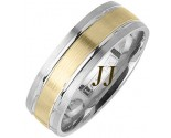 Two Tone Gold Dual Blade Wedding Band 7mm TT-1165