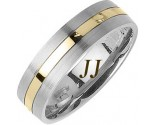 Two Tone Gold Single Blade Wedding Band 6mm TT-1166
