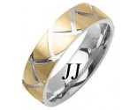 Two Tone Gold Shark Teeth Wedding Band 6mm TT-1161B