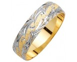 Two Tone Gold Fancy Wedding Band 6mm TT-1170