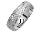 White Gold Fancy Wedding Band 6mm WG-1170