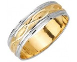 Two Tone Gold Fancy Wedding Band 6mm TT-1171