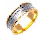 Two Tone Gold Designer Wedding Band 7mm TT-1172