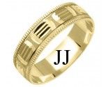Yellow Gold Designer Wedding Band 6mm YG-1173