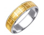 Two Tone Gold Designer Wedding Band 6mm TT-1174