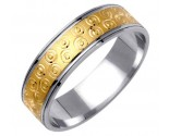 Two Tone Gold Designer Wedding Band 6mm TT-1175
